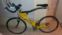 black and yellow Softride suspension mountain bike