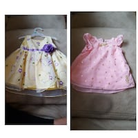 girl's pink and white floral spaghetti strap dresses collage