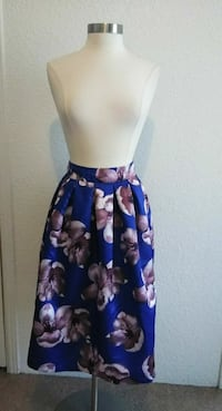 blue and black floral sleeveless dress