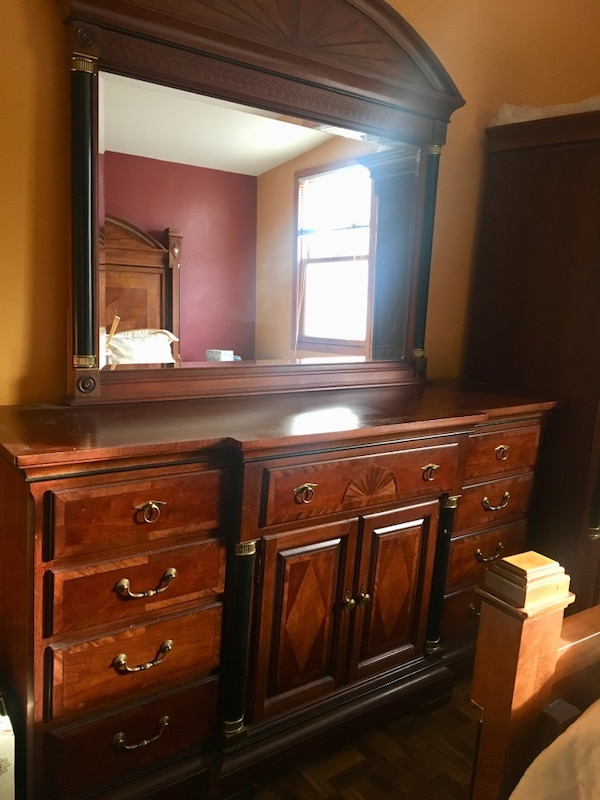 Please make an offer!!! Italian made bedroom set- solid wood brown wooden  dresser with mirror. Must sell by December 1