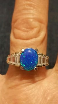 New 925 silver ring with blue opal & white topaz