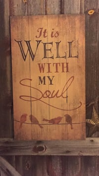 brown woden it is well with my soul print wall decor