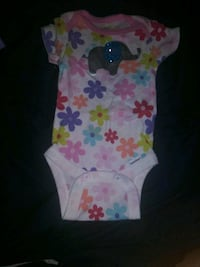 baby's white and pink floral onesie Raleigh, 27610