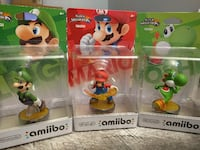 three Luigi, Mario, and Yoshi Amiibo figure packs Vienna