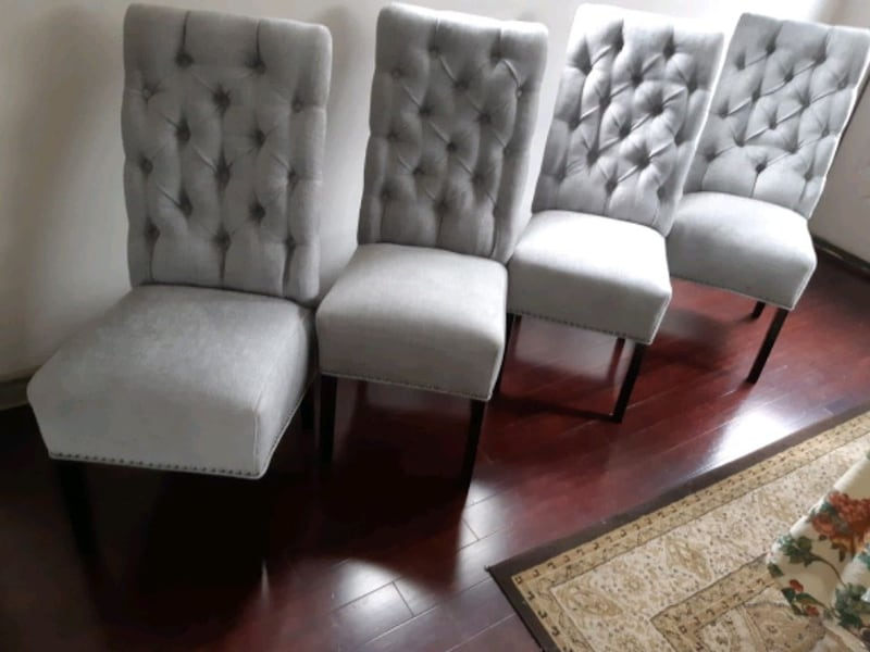 Brand new set of 4 high back tufted dining chairs  e3988ec2-359c-49f9-9ff0-d68b3e794eff