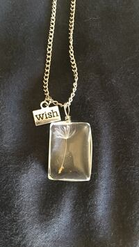 Stainless steel glass pendant with dandelion in it silver wish pendant