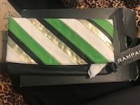 Green, white, and black striped leather pouch Stockton, 95206