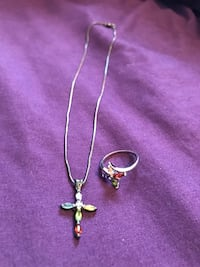 Colorful Cross Necklace and Ring Evans