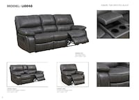 Reclining Living Room Set in Black Leather Air.