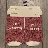 "Ladies Socks ""Life Happens, Wine Helps"""