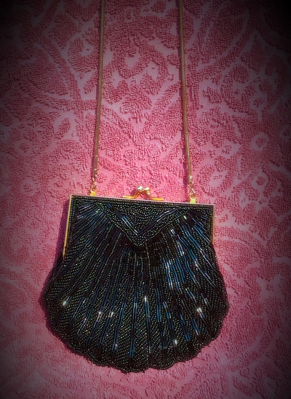 Vintage Black Seed Beaded Purse Carla Marchi