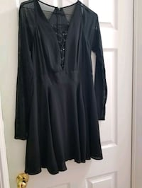 Express Dress with sheer sleeves & open tie front