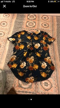 Women's brown, white, gray, and black floral button-up cap-sleeved shirt screenshot Costa Mesa, 92627