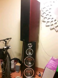 Dual  10×10  cherry wood home theater  towers Vancouver, V6B 3J5