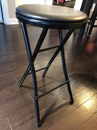 Folding vinyl counter stool black