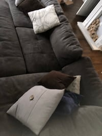 Gray suede sectional couch with throw pillows Frederick, 21703