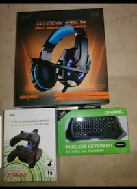 Gaming Headset + Wireless Keyboard + Dual Controller Charging Dock for