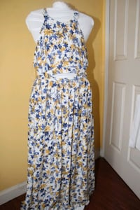 white, blue, and orange floral sleeveless dress. Culver City