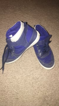 Black-blue-white high-top sneakers