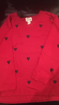 Quacker Factory 3X, red pullover sweater with navy hearts