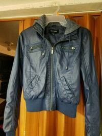 blue leather zip-up jacket Federal Way, 98023
