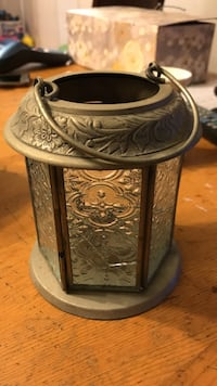 gray metal glass candle holder