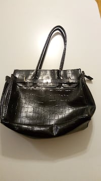 black leather crocodile skin tote bag BRAMPTON