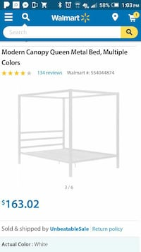 white Modern Canopy Queen Metal bed frame screensh