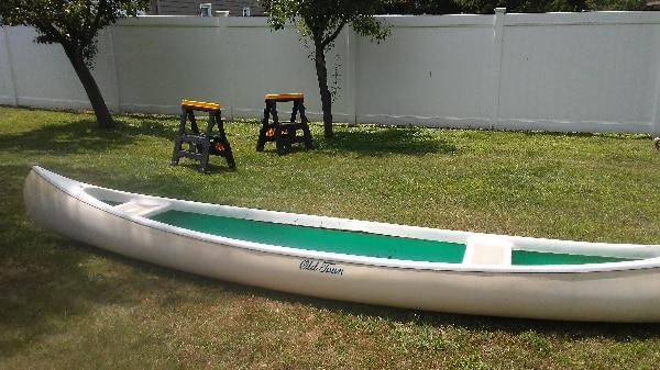 Vintage 1968 16 ft  Fiberglass Old Town Canoe (Oars available for  additional price)