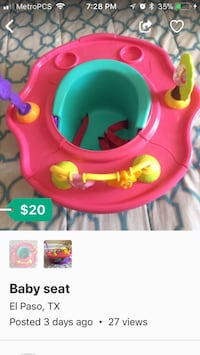Baby's pink and green activity saucer