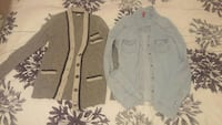 gray cardigan with blue denim jacket Lakeshore, N0R 1A0