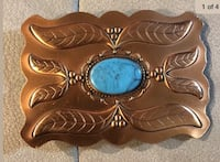 Solid copper and turquoise belt buckle Smyrna, 37167