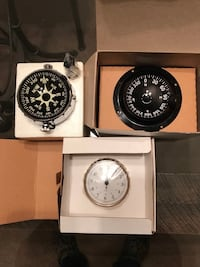 (2) heavy duty mariner compasses for power boats or sail boats with jeweled movement and built in compensators + (1) brass boat clock (all 3 for $25.00 Clarkston, 48346