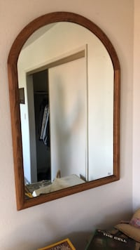 rectangular brown wooden framed mirror Los Angeles, 91436