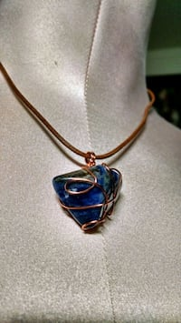 Copper wire wrapped Deep purple amethyst necklace  Surprise