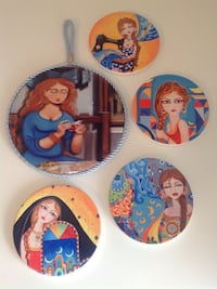 Ceramic wall decoration and four ceramic coasters / all for 20 Oakville, L6H