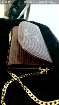 Chanel Deep Rouge Clutch with chain & wrist strap