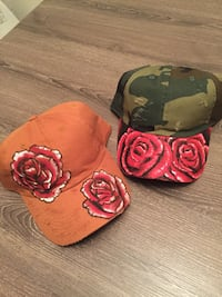 two red floral print orange and green-and-brown camouflage caps Raleigh, 27610