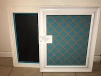 blue and brown quatrefoil poster with white frame Visalia, 93291