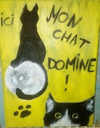 Peinture Ici, mon chat domine Tourcoing