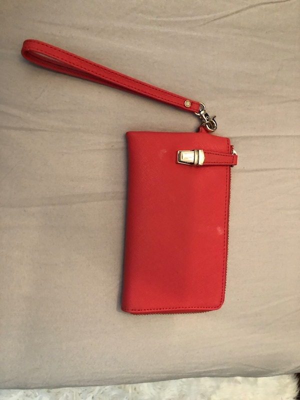 Salmon real leather clutch