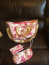 pink-and-white floral print 3-piece bag