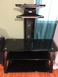 black glass TV stand with mount Rogers, 72756