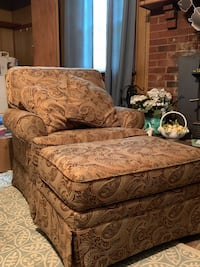 brown and black floral sofa