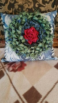 New handmade pillow with green red rose