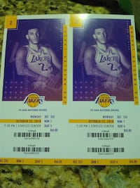 Lakers vs Spurs 10/22 Front Row of section Orange, 92867