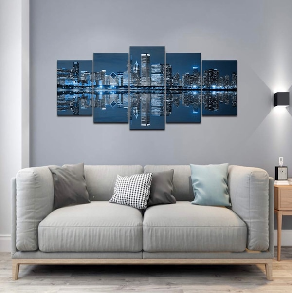 Blue Cool Buildings Wall Art Chicago Painting Print Canvas Office Couch Decor Bedroom Bathroom