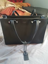 women's black leather Guess tote bag