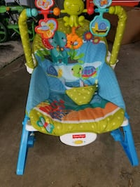 baby's blue and green Fisher-Price bouncer Edmonton, T5E 1A5