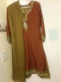 women's brown and red dress with dupatta scarf Commack, 11725